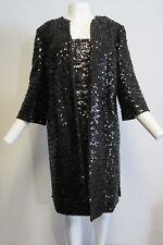 MARCHESA NOTTE brown 2 piece dress suit with black sequin overlay sz 14/ L