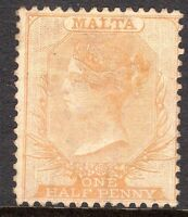 Malta 1863 dull-orange 1/2d crown CC perf 14  mint SG7