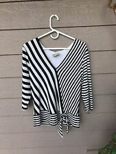 Joseph Ribkoff Black White Striped Banded Wrap Buckle Blouse Size 14