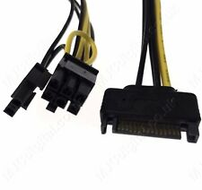 15Pin SATA Power to 8Pin  6+2 PCI-E PCI Express Adapter Cable Video Card 20cm UK