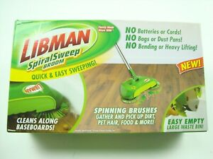 NEW Libman Green Spiral Sweep Push Broom, No Batteries or Cords, Quick and Easy
