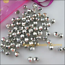 80Pcs Silver Plated Plastic Acrylic Round Faceted Space Beads Charms 8mm