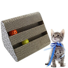 Cat Scratcher Post Scratching Cardboard Triangle w/ Bell Balls Catnip Pet Toy