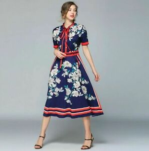 Navy Blue Red  Ivory Floral Pussy Bow Neck Tie Special Occasion Chic Dress 8 10