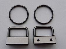 "Gunmetal Black Key Fob Hardware 25mm (1"") x 10   includes rings"