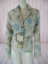 Erin London Blazer M Poly Acrylic Stretch Floral Embossed Textured BOHO CHIC!