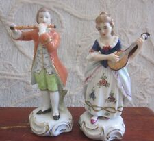 vintage 1950s SITZENDORF Germany porcelain figurines 18th COURT MUSICIANS