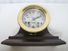 Well Preserved Antique Chelsea Ships Bell Mantle Clock on Walnut Wood Stand.