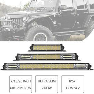 "20"" 13"" 7"" in 180W 120W 60W Slim LED Work Light Bar Spot Flood Combo Offroad SUV"