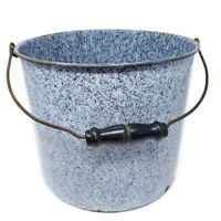 "Vintage 9.5"" Large Graniteware Metal Bucket Pail Blue White Speckled Enamel"