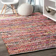 nuLOOM Hand Made Contemporary Cotton Blend Area Rug in Red, Orange, Yellow Multi