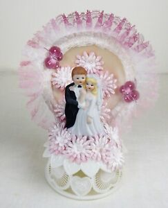 1973 Bisque Porcelain Blonde Couple With Flowers Butterflies Wedding Cake Topper