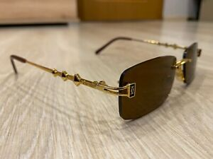 Cartier Paris Made In France Gold Rimless Brown Vintage Sunglasses 54x18x140