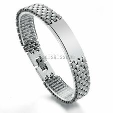 Silver Stainless Steel Watch Band Chain Bracelet Wristband Cuff Jewelry for Men