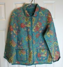 Appleseed's Ladies Turquoise Reversible Quilted Blazer sz. XL