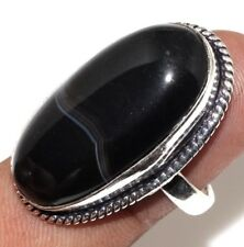 U4623 Black Botswana Agate 925 Sterling Silver Plated Ring Us 7