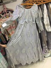 Bridal dress gray blue net Embroiderd designer new latest Wedding Party Prom