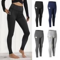 Womens High Waist Yoga Leggings Pockets Fitness Sport Gym Workout Pants Exercise