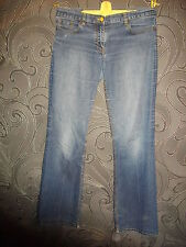 * TED BAKER * BLUE BOOTLEG STONEWASHED STRETCH DENIM JEANS SIZE 2 - 32 W X 33L