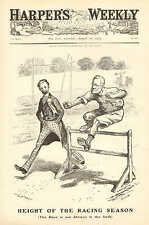 Political Cartoon, Height Of The Racing Season, by W A Rogers 1904 Vintage Print