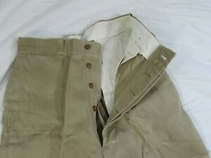 Vtg 50s 1956 Button Fly US Army Cotton Khaki Pants 28x32 Chino Uniform Military