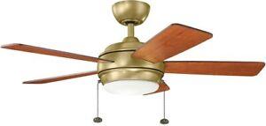 """Kichler 330171NBR  Starkk 42"""" 5 Blade LED Ceiling Fan  - Brass"""