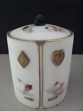 Rare Antique Decorated Satin Glass Cuff Collar Box W/ Original Lining & Cuffs
