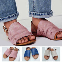 Women Leather Flat Slip On Peep Toe Roma Gladiator Sandals Slippers Summer Beach
