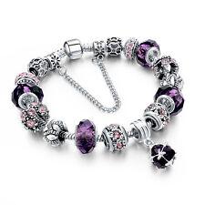 New European Pandora Tibetan Silver Crystal Charm Beads Bracelet Women Jewelry