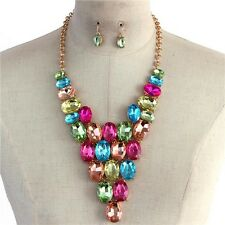 Multi Color Oval Crystal Bead Gold Tone Base V Style Chunky Necklace Earring