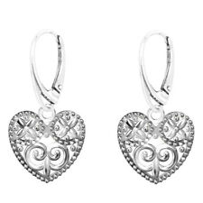 FASHIONS FOREVER® 925 Sterling Silver Designer Heart Love Leverback Earrings