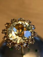 Antique/Vintage Rhinestone Stick Hatpin: Yellow Center With Small Blue Surround