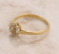 Diamond Cluster Ring 18ct Yellow Gold Size R