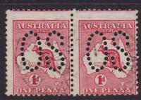 "AUSTRALIA KANGAROO 1913 1d Red 1st Wmk LARGE ""OS"" PAIR USED  SG O2 (KA68.5)"