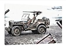 Willys JEEP MB - 30x20 pollici Tela-Opera d'Arte Stampa Foto Incorniciata WW2 Militare