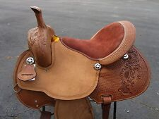 16 BARREL RACING SHOW COWBOY PLEASURE TOOLED BROWN LEATHER HORSE WESTERN SADDLE