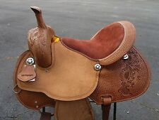 16 BARREL RACING SHOW SILVER RACER PLEASURE TRAIL LEATHER HORSE WESTERN SADDLE