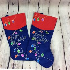 Lot of 2 Felt Christmas Stockings Happy Holidays Graphic Embroidery Red Blue
