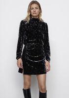 ZARA AW2020 BLACK PAISLEY PRINTED MINI VELVET DRESS SIZE M BNWT SOLD OUT