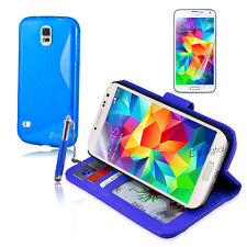 BLUE Wallet & Gel 4in1 Accessory Bundle Kit Case Cover For Samsung Galaxy S5