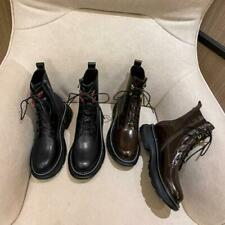 Women Genuine Leather Martin Boots Round Toe Thick Bottom Lace Up Ankle Boots