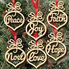 6PCS Craft Rustic Wood Xmas Tree Hanging Ornament Christmas Decorations