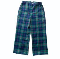 Brooks Brothers Red Fleece Women SZ 2  Wool Blend Blue green Plaid crop Pants
