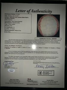 Signed Joe DiMaggio 1948 NY Yankees Baseball Phil Rizzuto MLB 12 Signatures HOF