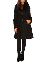 Ivanka Trump Womens Black Tulip Sleeve Wool Coat Sz 4 H1430