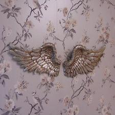 Pair of Angel Wings Silver Ornate Vintage Shabby Cherub Wall Decoration Chic