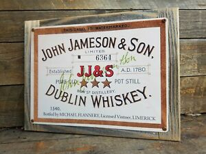 John Jameson Whiskey Label Reproduction Metal Sign Reclaimed Wood Frame