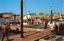 """Happy Fishermen"" WESTPORT, WA Fishing Boats Washington Pier c1960s Postcard"