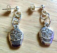 Sugar Skull Earrings, Dangle Silver Plated, Rockabilly Day of the Dead Steampunk