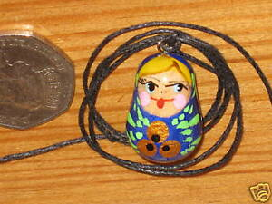 Pendant Russian wood Doll UNIQUE Girl GIFT BLUE Matryoshka Necklace